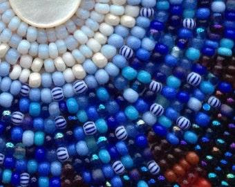 Blue Moon Embroidered Beadwork Barrette