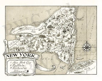 Pictorial Map of New York - fun illustration of vintage state map