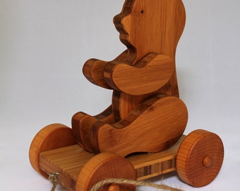 """Wooden Pull Toy """"Bamboo Bear Pull Toy"""" - Child Safe, Handcrafted from Reclaimed Bamboo, Eco-friendly by GiggleTree Toys"""