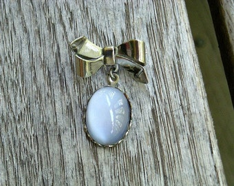 Vintage Moonstone Pin with Silver Finish Bow