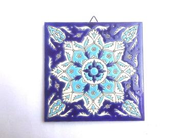 Mediterranean Tile, Trivet Ceramic Tile, hand made ceramic, Ceramic Tile, Ceramic Wall Hanging, Bohemic Tile, Blue Ceramic Tile, Greek Tile