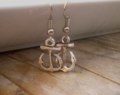 Silver Vintage Earrings Anchor boho style eco, gift for her.