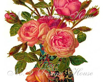 Printable Vintage Floral, Digital Download, ACEO, Floral Digital, Digital Collage, Digital Gift Tags,French Digital,Transfer Images