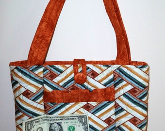 Rust, Cream, Green and Brown Geometric Design Quilted Purse
