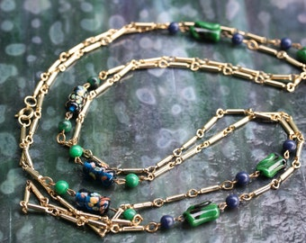 Vintage Glass bead and goldtone link necklace