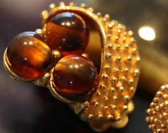 Luscious root beer amber cats eye earrings