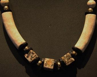 Vintage Leopard Jasper Onyx Necklace