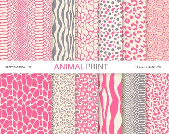 Pink Animal Print Digital Paper Pack, 12 Digital Scrapbook Papers Animal Print in Pink - BR 190