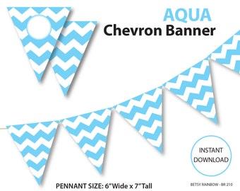 Blue banner, chevron banner, aqua blue chevron banner, printable banner, DIY party  - BR 210