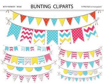 Bunting clipart, clipart banner, bunting clip art, banner clip art, Scrapbook supplies  - BR 288