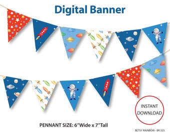 Printable banner, space banner, space party, astronaut, rocket, galaxy, space, digital banner, space party - BR 335