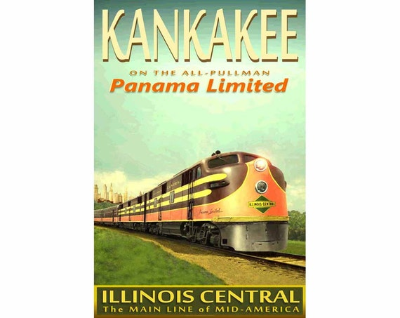 Illinois central railroad panama limited new train poster for Jewelry stores effingham il