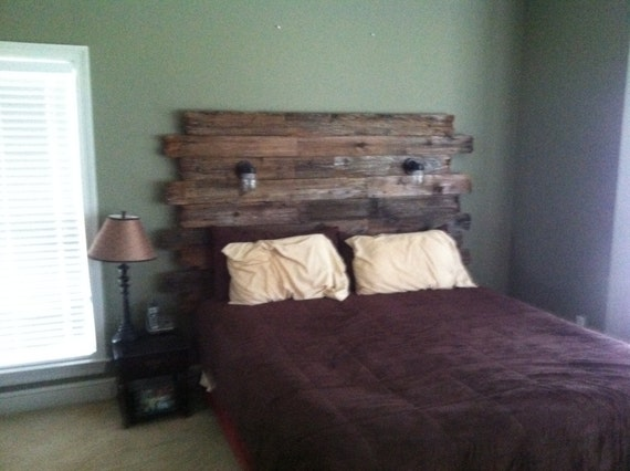 Items similar to Rustic Barnwood headboard with reading ...