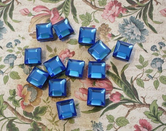 Vintage Large Blue Faceted Pillow Beads (6 Pieces)