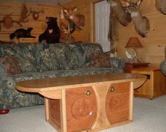 WOOD FURNITURE Oak Coffee Table ~ Custom Wood Furniture ~ Hunting Cabin Decor ~ Custom Woodworking ~ Cabinet Door Design