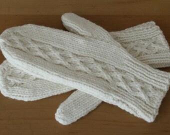 Chunky Wool Mittens - British Wool - Cream