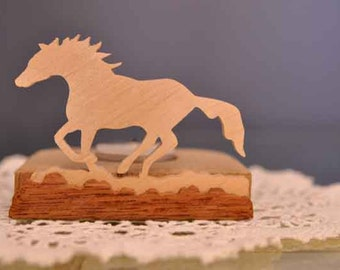 Scroll sawn handcrafted tea light holder - Galloping horse
