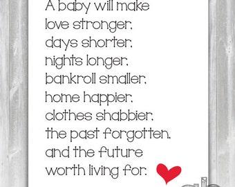 New Baby Poem - Baby Shower Poem - Poem for New Parents - Instant Download 8x10 Print
