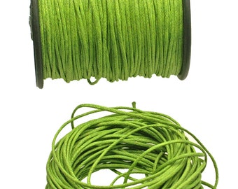 Lime BRAIDED Waxed Cotton Cord, 1mm - 25 feet/7.62 meters.
