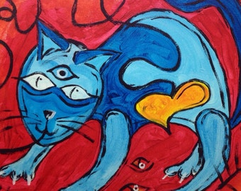 Abstract Cat Painting, gift for her, cat lady gift, Original acrylic canvas, acrylic painting red and blue, wall decor, unique cat art