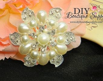 Pearl and Rhinestone Brooch - Bride Wedding Brooch Bouquet Supply - Crystal Bridal Brooch Wedding Jewelry Bridal Supply PinBack 52mm 041159