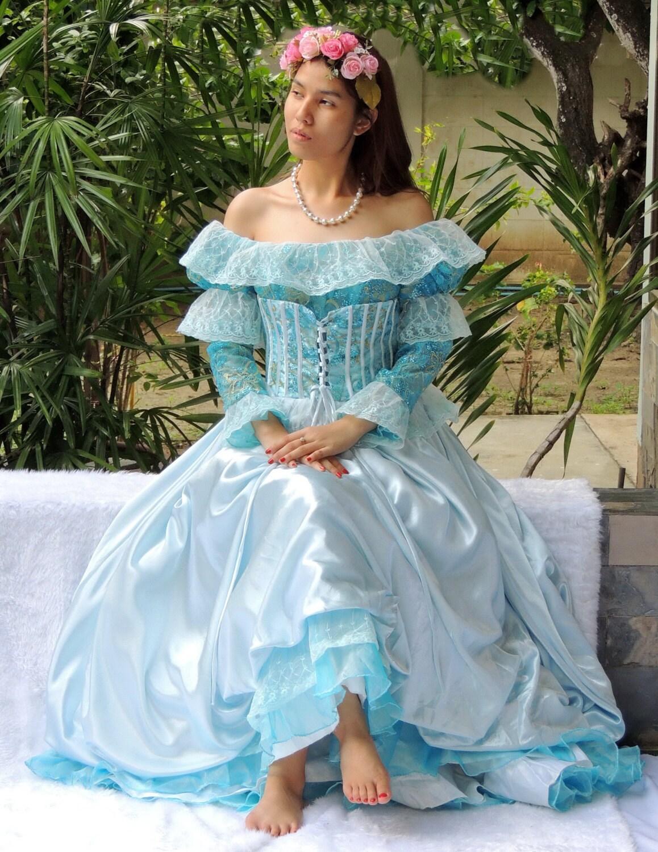 Blue Satin And Lace Vintage Dress Wedding By BestVintageFashion