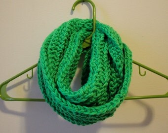 CLEARANCE / Electric Green Infinity Scarf / Ribbed Hand Crochet, Double Thread, Chunky, Other Colors Avaialble