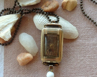Vintage Watch Case Necklace with White Bead