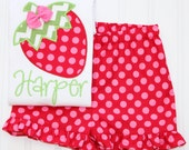 Strawberry Short Set, Monogrammed Strawberry Shirt, Ruffle Shorts