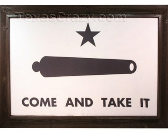 Dark Framed 2 x 3 foot Gonzales Come and Take It Flag Texas Wall Texas Decor Texas Gifts Texas Art Battle Flag Framed Flag