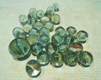 Vintage Green Cats Eye Marbles And Shooter