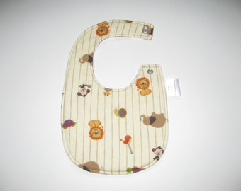 Baby Bib- Reversible Triple Layer Bib-Animals