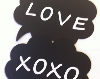"Photo Booth Props ""Love and XOXO"" Speech Bubbles"