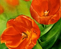 """Poppies, Original Painting Watercolour , 12""""x12""""  Floral Painting, Home decor, Art"""