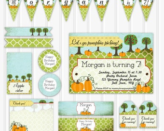 Printable Pumpkin Picking Birthday Party Set, Custom Pumpkin Patch Birthday Party INSTANT DOWNLOAD, fall birthday party, party decortion kit