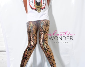 In Stock Ready To Ship Panel Square Shattered Glass Hologram Deluxe Tricot Spandex Leggings