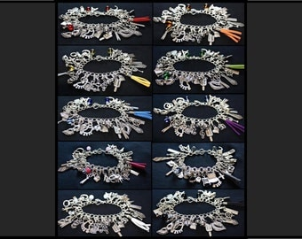 Any Colour, Charm Bracelet with Flogger / Whip Charm // Fifty Shades of Grey Inspired // BDSM Gift // Cincuenta Sombras