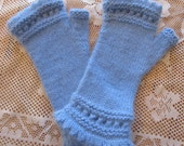 Sky Blue Fingerless Mitts Hand Knit Super Soft and Warm 50-50 Angora and Fine Wool - Unisex size Large - Suit Adult or Teenager
