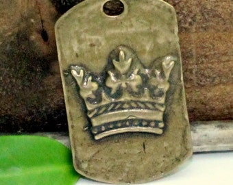 """Bronze Dog Tag Crown 1 7/8"""""""" x 1 3/8"""" (46mm x 35mm) for Rosary, CN502Z"""