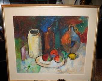 MID CENTURY ORIGINAL Painting Signed Decole