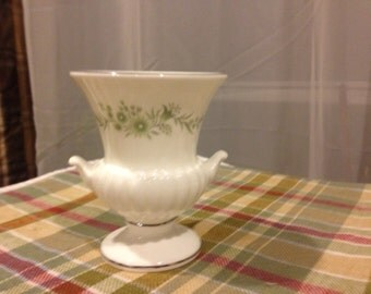 Wedgwood Urn -Shaped Toothpick holder,  Bone China Small Bud Vase Light Blue-Green Flowers Made in England