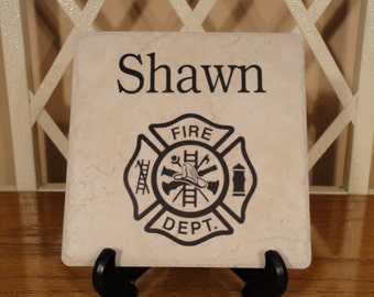 FIREFIGHTER Personalized Name Tile, Paramedic, EMT, EMS, Law, Skull, Any Theme