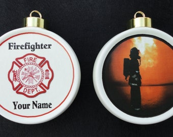 Custom FIREFIGHTER Ornament *Personalized* Christmas, Holiday, Paramedic, EMT, EMS, Memorial, Pet