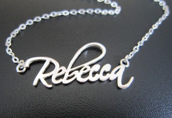 Name necklace script font silver by personalizedjewelry