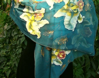 Shawl.Natural silk shawl - floral, orchid flowers blue-turquoise, hand painted shawl.