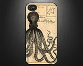 iPhone 5S / 5C case, iPhone 5S / 5C cover, Octopus on old map