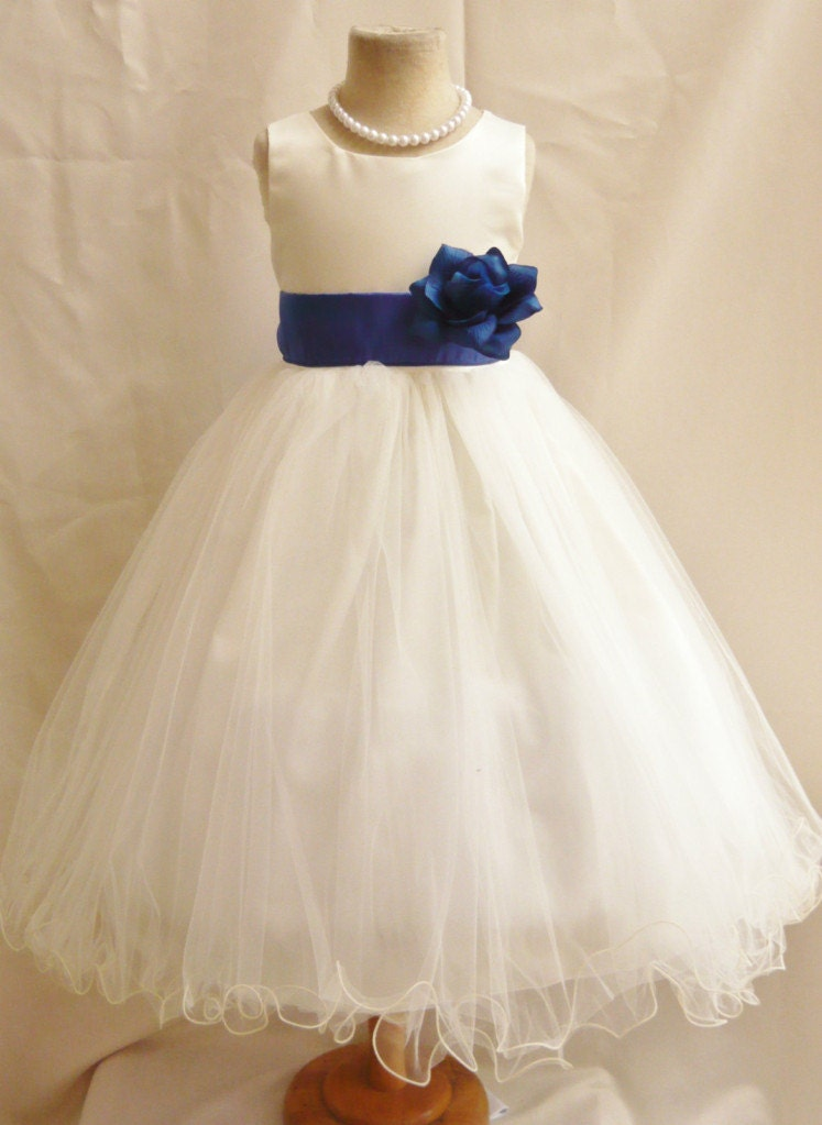 Flower Girl Dresses IVORY with Blue Royal by NollaCollection