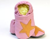 Baby Girl Leather Slipper Shoes Soft-Sole rose Star Size 3 - 7