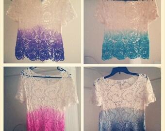 Dip Dye Ombre Crochet Top -Custom Made
