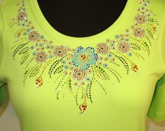Multicolor Flower Neckline Rhinestone Shirt